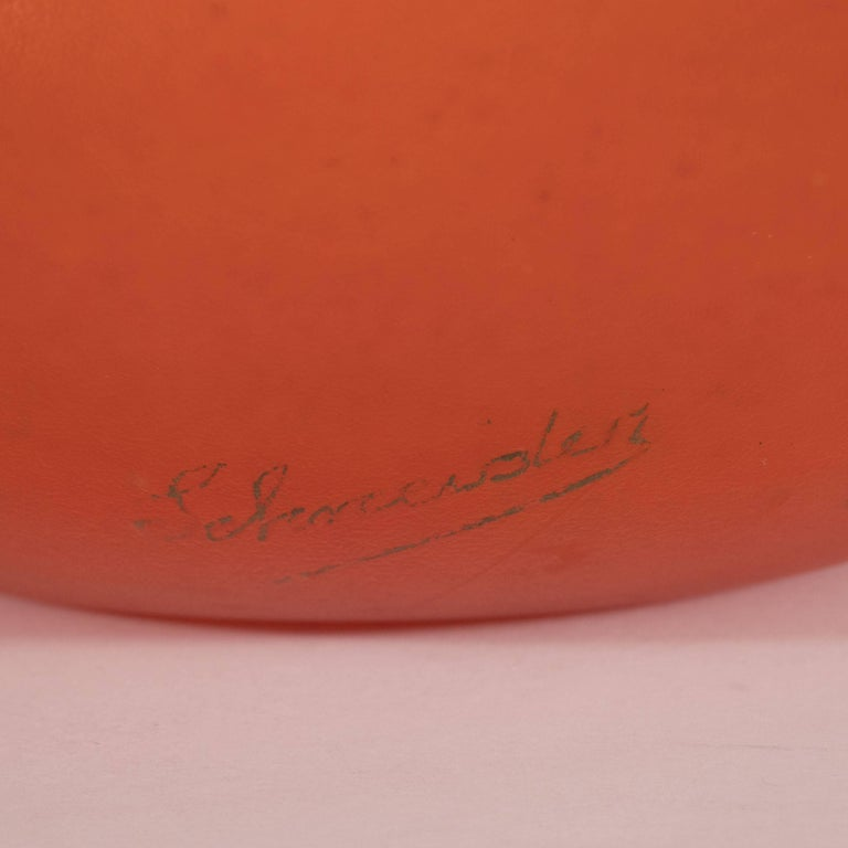 Blown Glass French Art Deco Vase in Opaque Persimmon Hue Signed by Charles Schneider For Sale