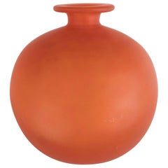 French Art Deco Vase in Opaque Persimmon Hue Signed by Charles Schneider