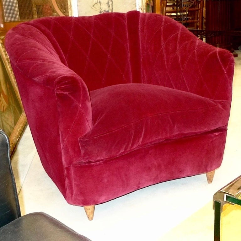 Mid-20th Century French Art Deco Velvet Upholstered Chair For Sale