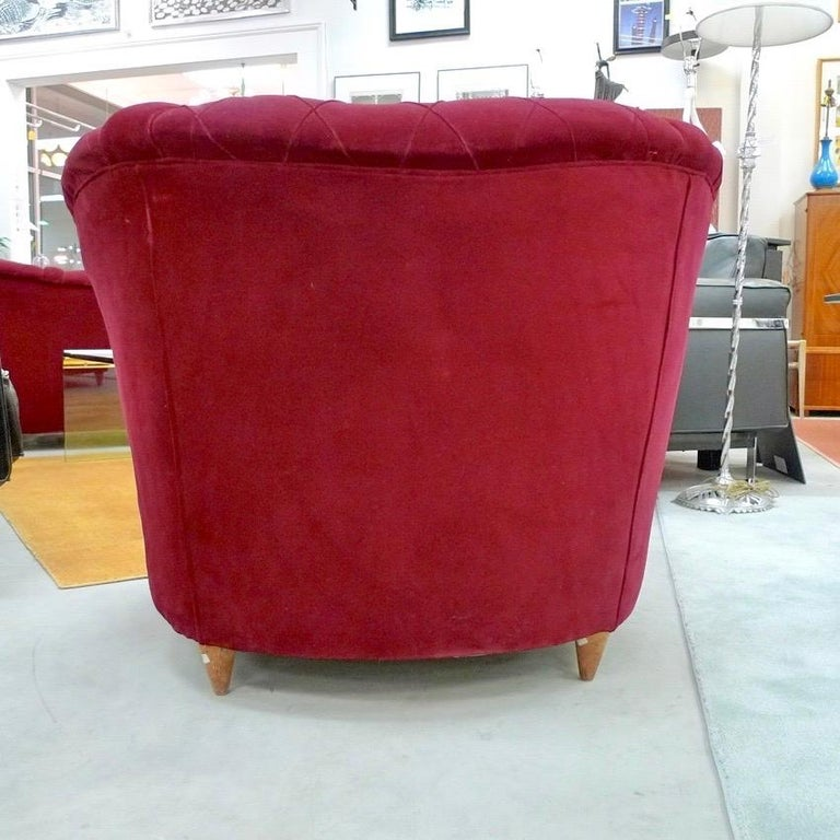 French Art Deco Velvet Upholstered Chair For Sale 4