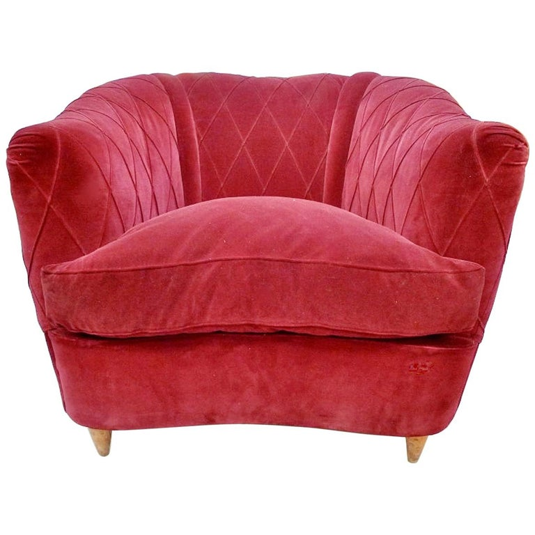 French Art Deco Velvet Upholstered Chair For Sale