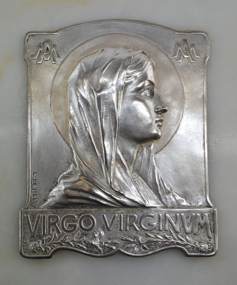 French Art Deco font by L. de Helly, France, 1930s. Holy Virgin portrait. Bronze, onyx, glass and brass. Bronze portrait of the Holy Virgin. Signed
