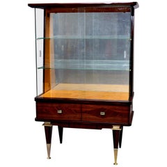 French Art Deco Vitrine with Brass Capped Legs