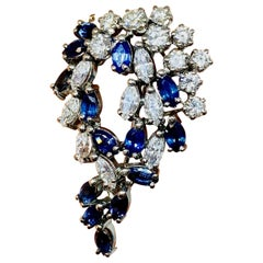 French Art Deco VS 6.00 Carat Diamond Sapphire Brooch Pin Necklace Pendant