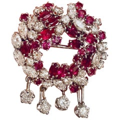 French Art Deco VS 7.00 Carat Diamond Ruby Brooch Pin Necklace Pendant