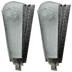 Pair of French Art Deco Wall Lamps Sconces signed by Muller Ferers
