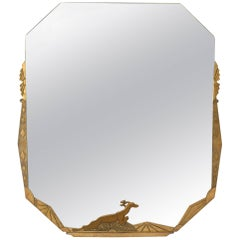 French Art Deco Wall Mirror with a Geometric Design
