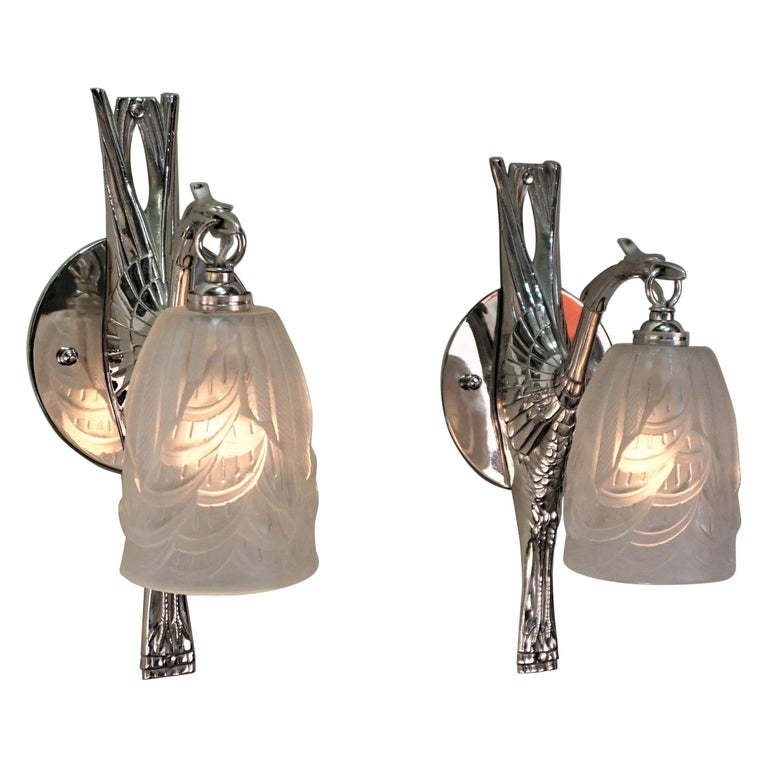 French Art Deco Wall Sconces by Charles Schneider For Sale
