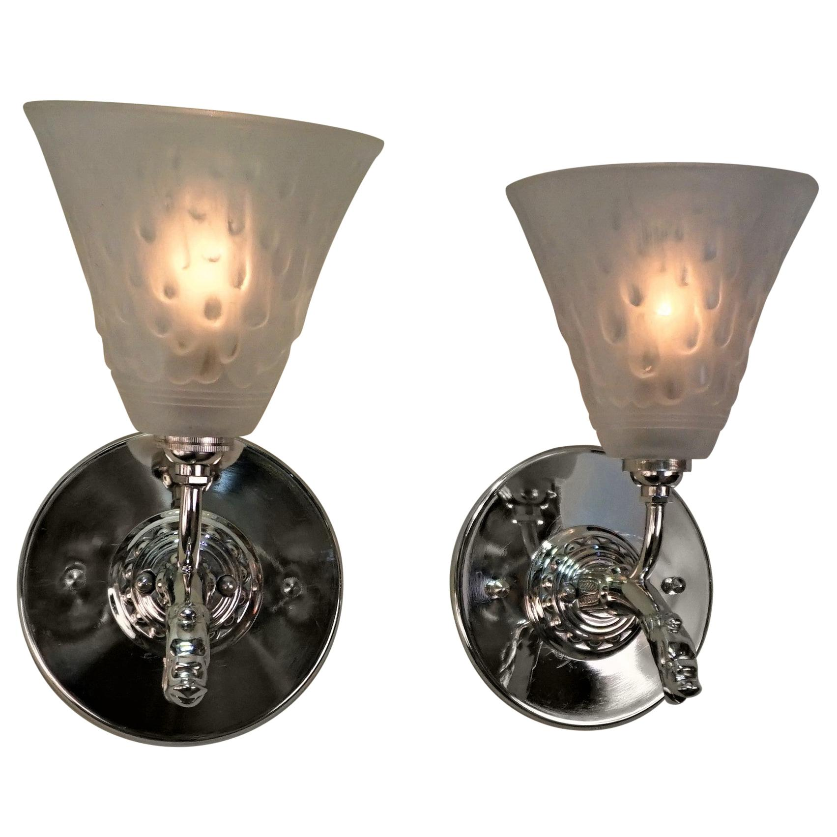 French Art Deco Wall Sconces by Muller Frères