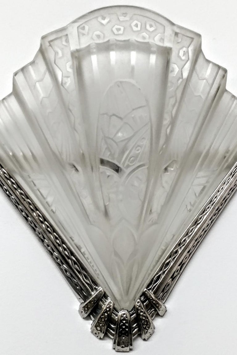 Cast Pair of French Art Deco Wall Sconces Signed by Frontisi For Sale