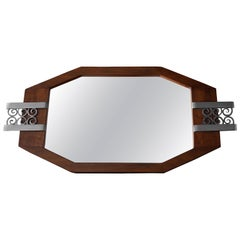 French Art Deco Walnut and Wrought Iron Tray, 1930s
