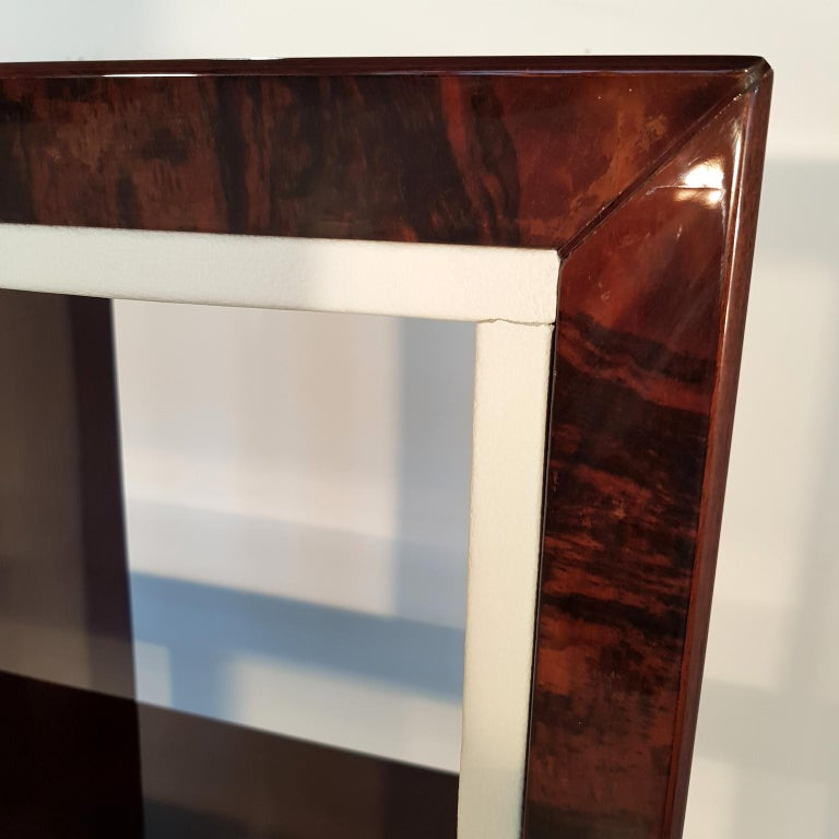 Lacquered French Art Deco Walnut Bookcase, 1940s For Sale