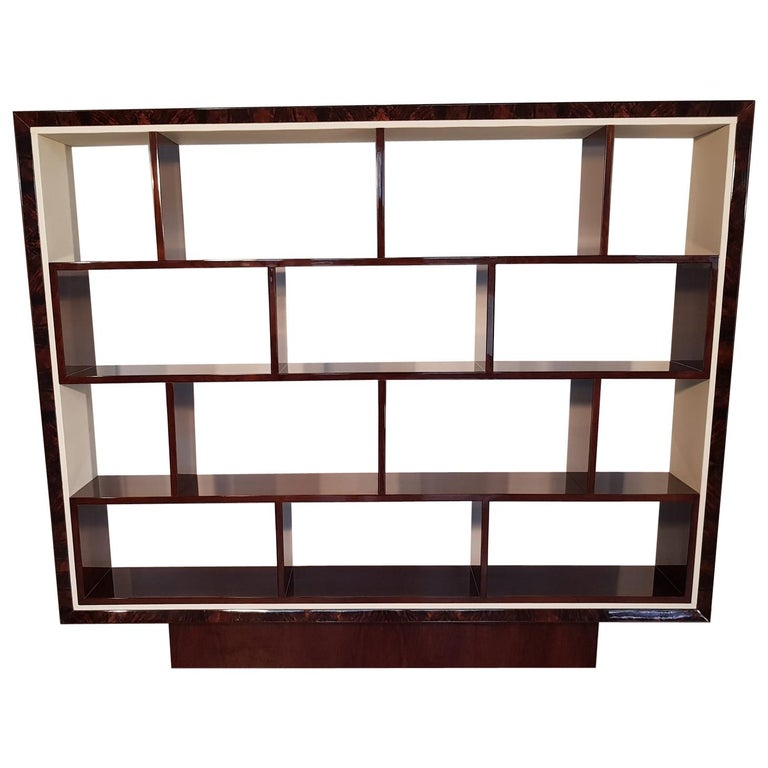 French Art Deco Walnut Bookcase, 1940s For Sale