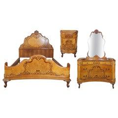 French Art Deco Walnut Burl Bedroom Set Dresser Bed Nightstand Provincial