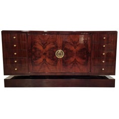 French Art Deco Walnut Burl Sideboard with Brass Handles, 1930s