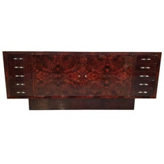 French Art Deco Walnut Burl Sideboard with Nickel-Glass Handles, 1930s