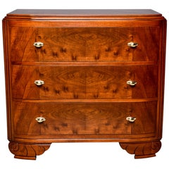French Art Deco Walnut Chest of Drawers