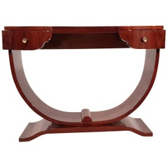 French Art Deco Walnut Console Table with Drawers, 1930s