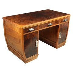 French Art Deco Walnut Desk