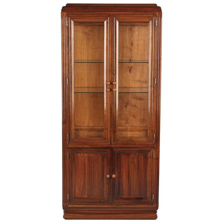 French Art Deco Walnut Display Cabinet or Bookcase, 1930s For Sale