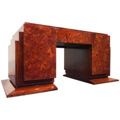 French Art Deco Walnut Executive Desk, 1940s
