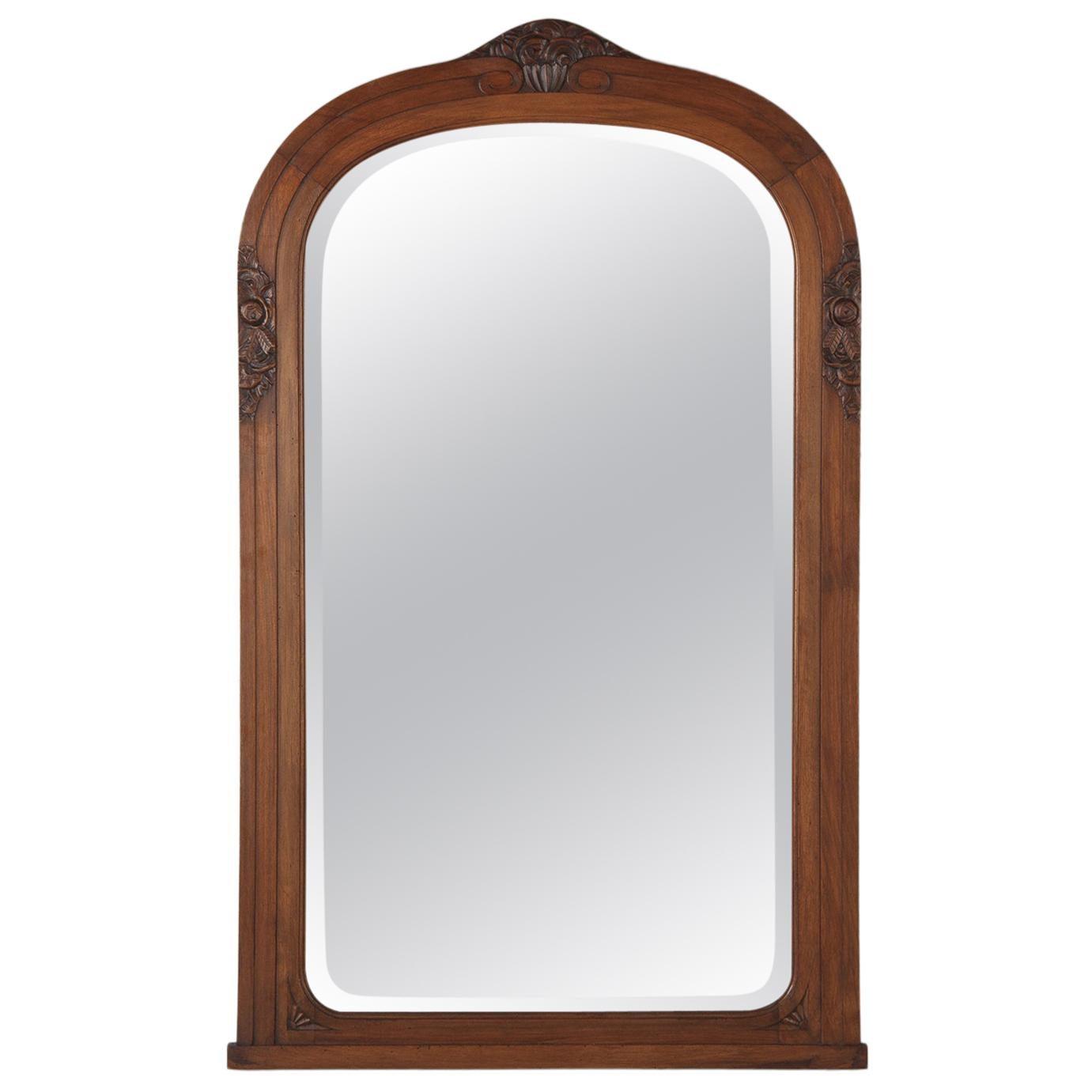 French Art Deco Walnut Frame Beveled Mirror, 1930s