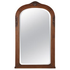 French Art Deco Walnut Frame Beveled Mirror, 1930s