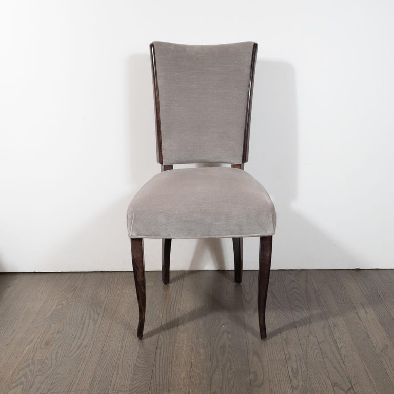 French Art Deco Walnut Side/ Desk Chair in Walnut in Stone Velvet In Excellent Condition For Sale In New York, NY