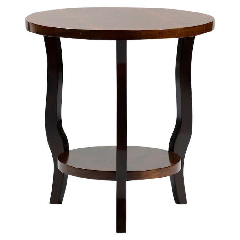 French Art Deco Walnut Side Table