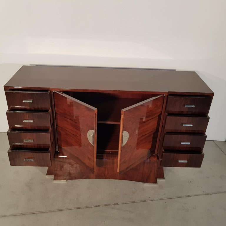 Lacquered French Art Deco Walnut Sideboard, 1930s For Sale