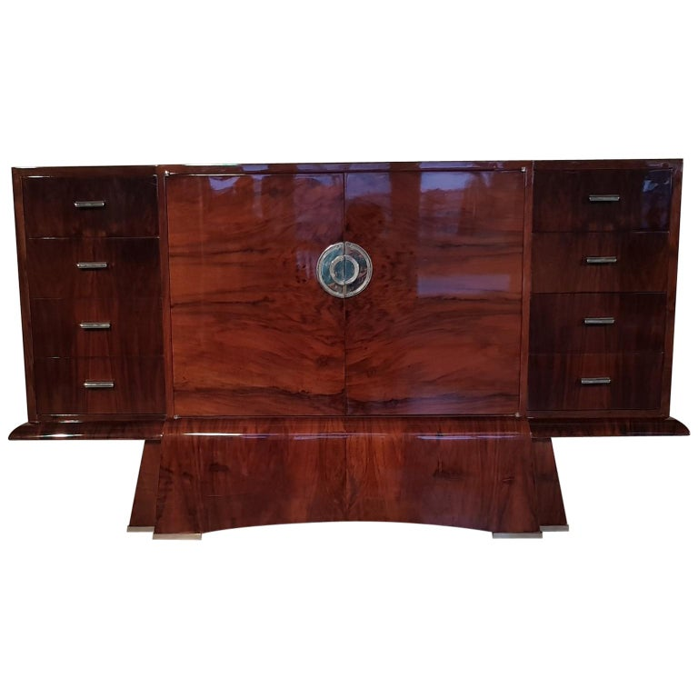 French Art Deco Walnut Sideboard, 1930s For Sale