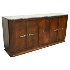 French Art Deco Walnut Sideboard Buffet Credenza