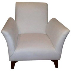French Art Deco Walnut Upholstered Club Chair Inspired by Dominique