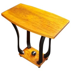 French Art Deco Walnut Wood Small Side Table