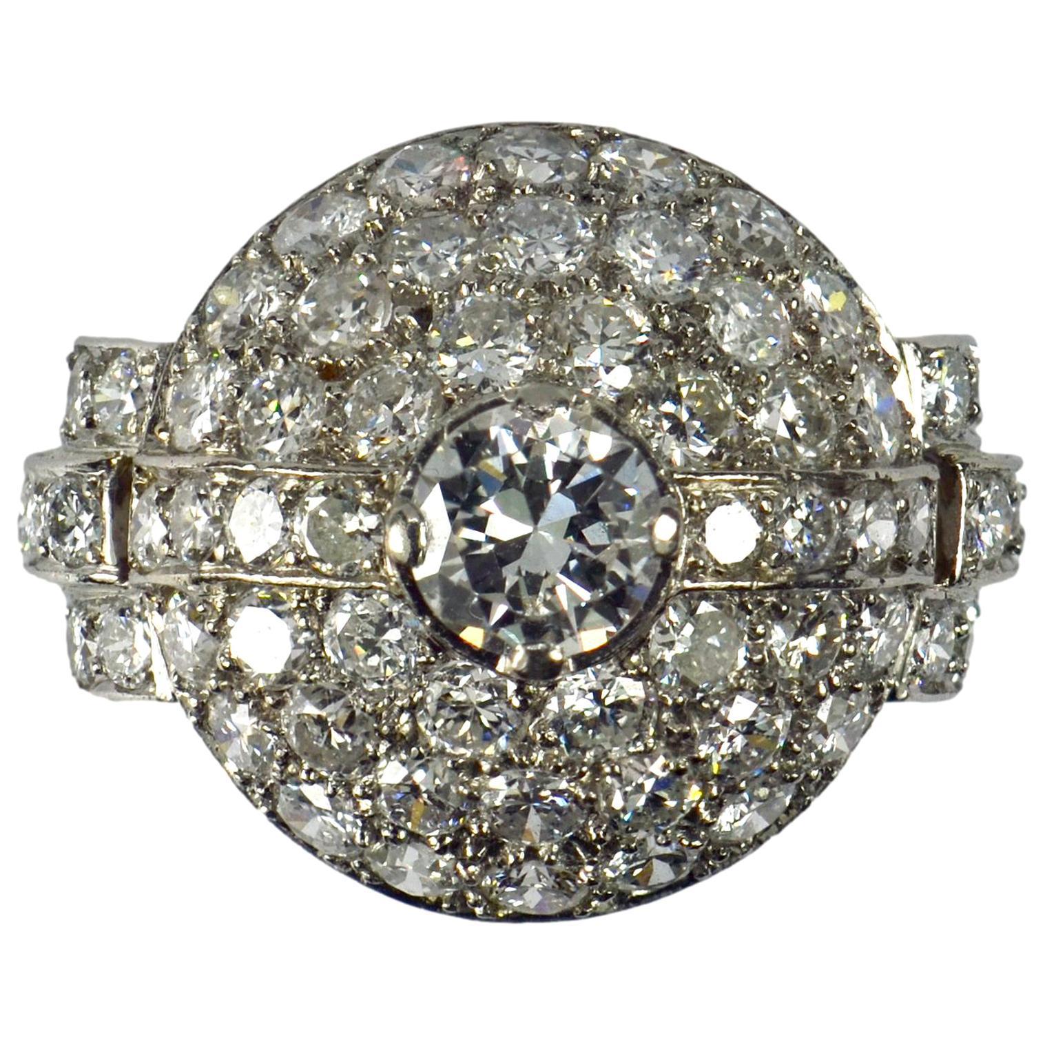 French Art Deco White Diamond Platinum Target Dome Ring