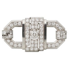 French Art Deco White Gold and Diamond Brooch, C. 1930