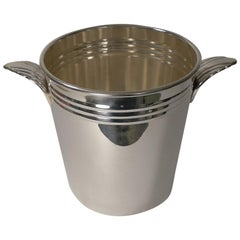 French Art Deco Wine Cooler or Champagne Bucket circa 1930s in Silver Plate