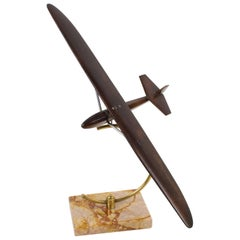 French Art Deco Wood Airplane Glider Aviation Model
