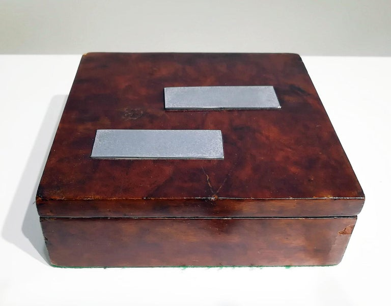 Metal French Art Deco Wood Box, circa 1930 For Sale