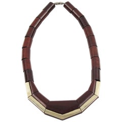French Art Deco Wood Silver Geometric Choker Necklace
