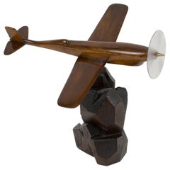 French Art Deco Wooden Airplane Aviation Model