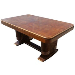 French Art Deco Wooden Dining Table