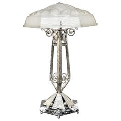 French Art Deco Wrought Ion Table Lamp