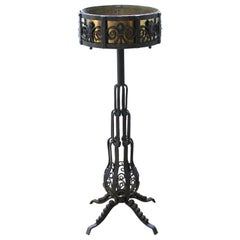 French Art Deco Wrought Iron and Brass Planter Stand