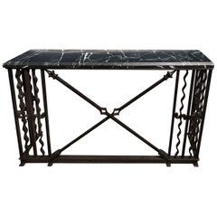 French Art Deco Wrought Iron and Marble Console Table