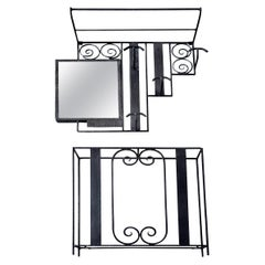 French Art Deco Wrought Iron and Mirror Coat Peg, and Umbrella Stand, 1930s