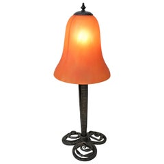 French Art Deco Wrought Iron Blown Art Glass Table Lamp