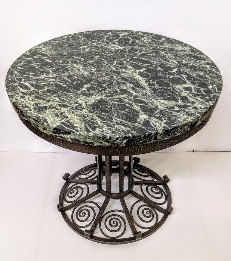 Hand-Crafted French Art Deco Wrought Iron Coffee or Side Table For Sale