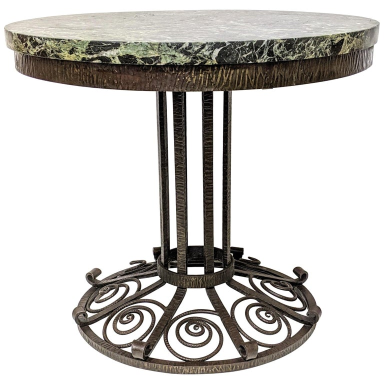 French Art Deco Wrought Iron Coffee or Side Table For Sale