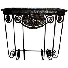 French Art Deco Wrought Iron Console Table Inspired by Edgar Brandt
